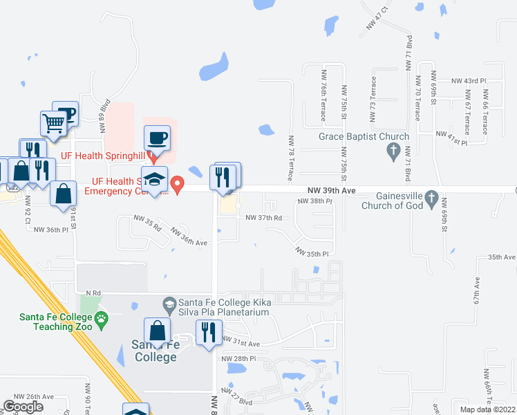 map of restaurants, bars, coffee shops, grocery stores, and more near 3800 Northwest 79th Terrace in Gainesville