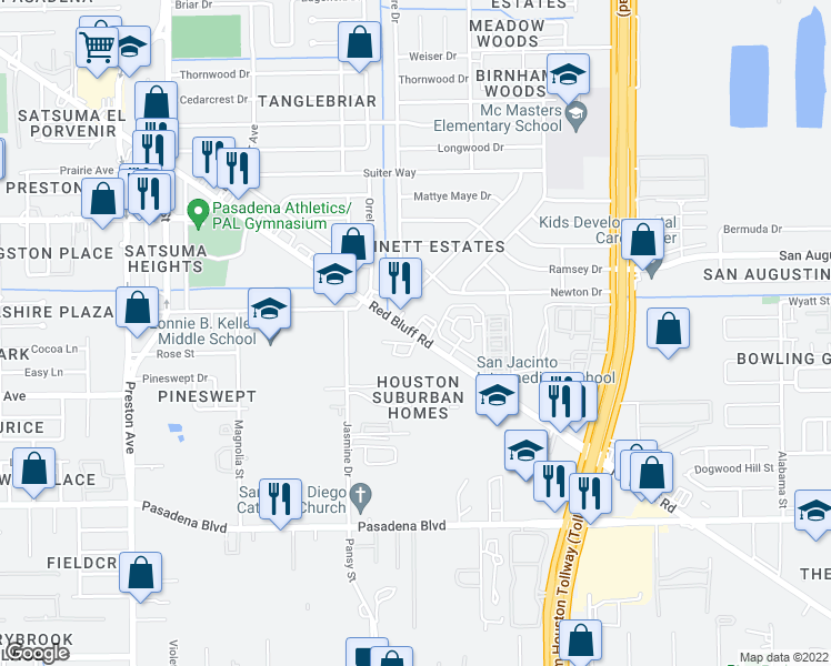 map of restaurants, bars, coffee shops, grocery stores, and more near 3500 Red Bluff Road in Pasadena