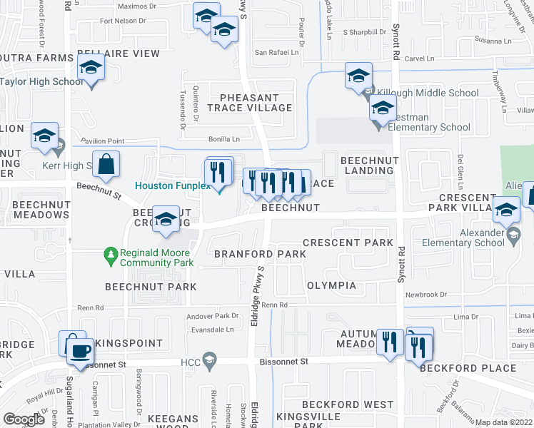 map of restaurants, bars, coffee shops, grocery stores, and more near Beechnut Street & Eldridge Parkway in Houston