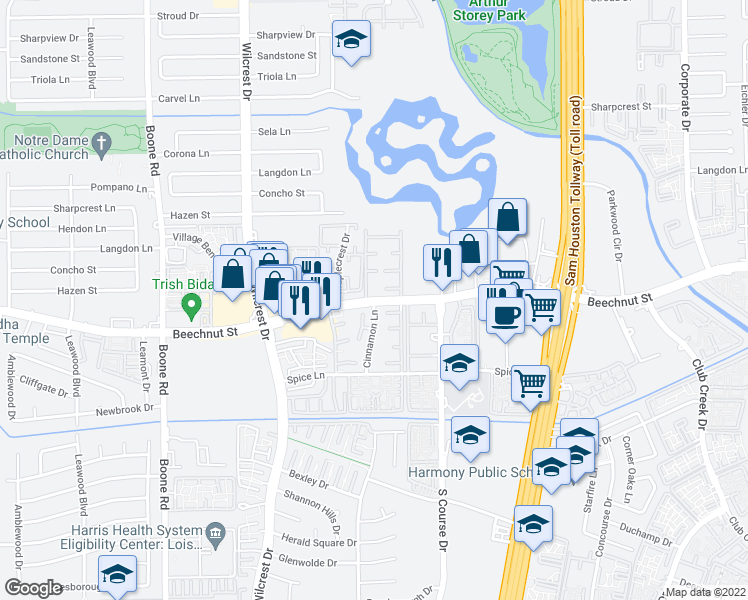 map of restaurants, bars, coffee shops, grocery stores, and more near 10556-10566 Beechnut Street in Houston