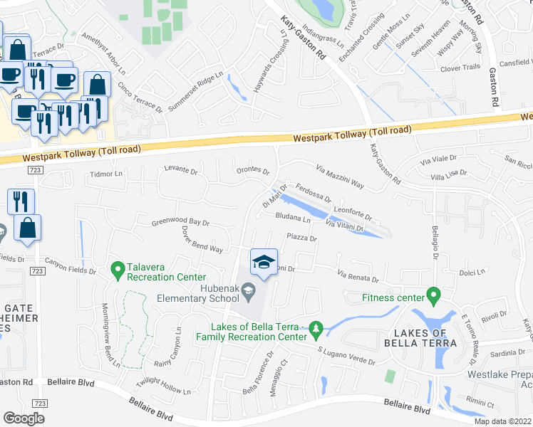 map of restaurants, bars, coffee shops, grocery stores, and more near Bludana Ln in Richmond