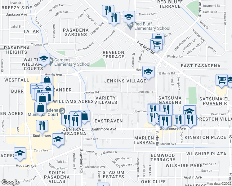 map of restaurants, bars, coffee shops, grocery stores, and more near 1020 Willow Oaks Circle in Pasadena