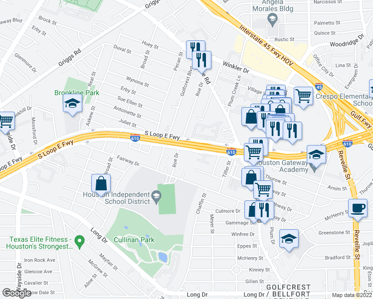 map of restaurants, bars, coffee shops, grocery stores, and more near S Loop E Fwy in Houston