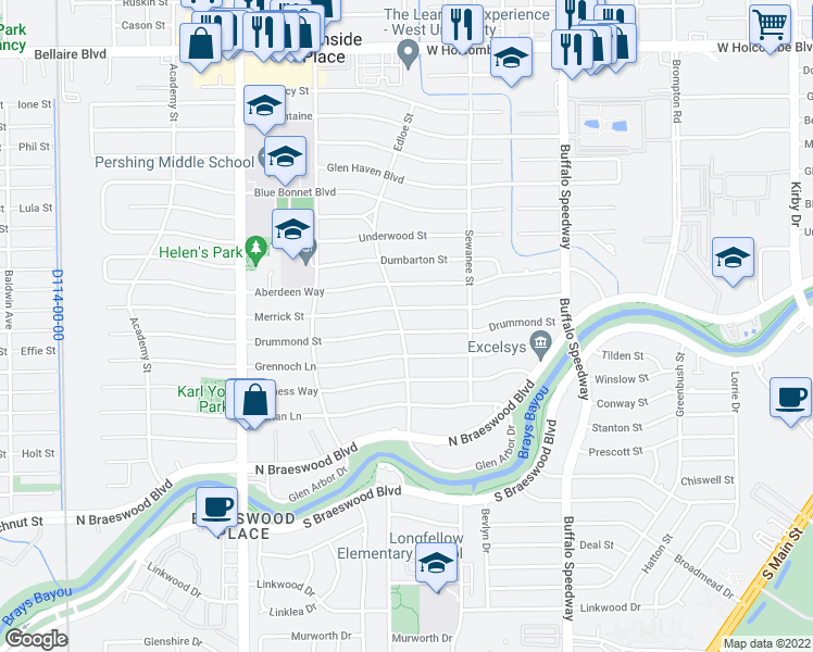 map of restaurants, bars, coffee shops, grocery stores, and more near 3642 Drummond Street in Houston