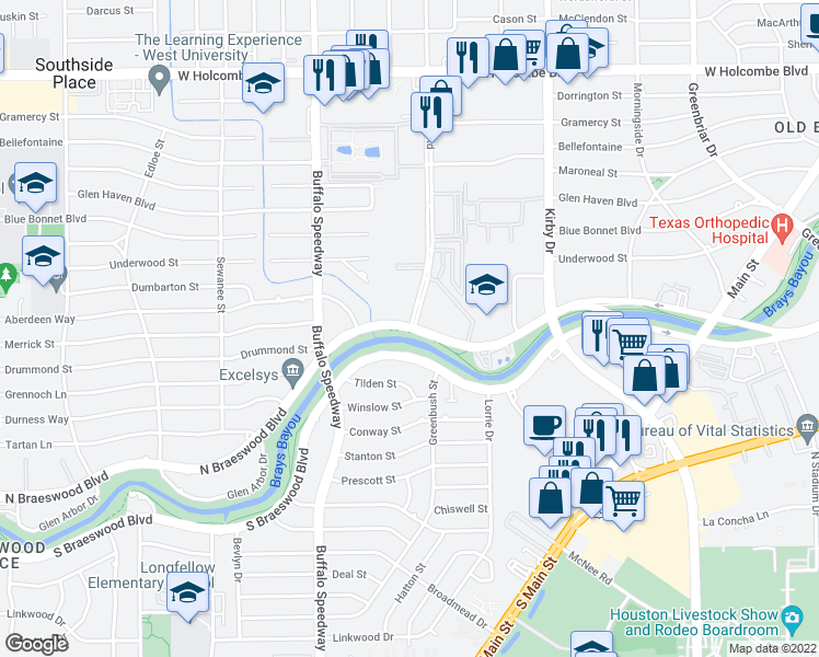 map of restaurants, bars, coffee shops, grocery stores, and more near North Braeswood Boulevard & Brompton Street in Houston