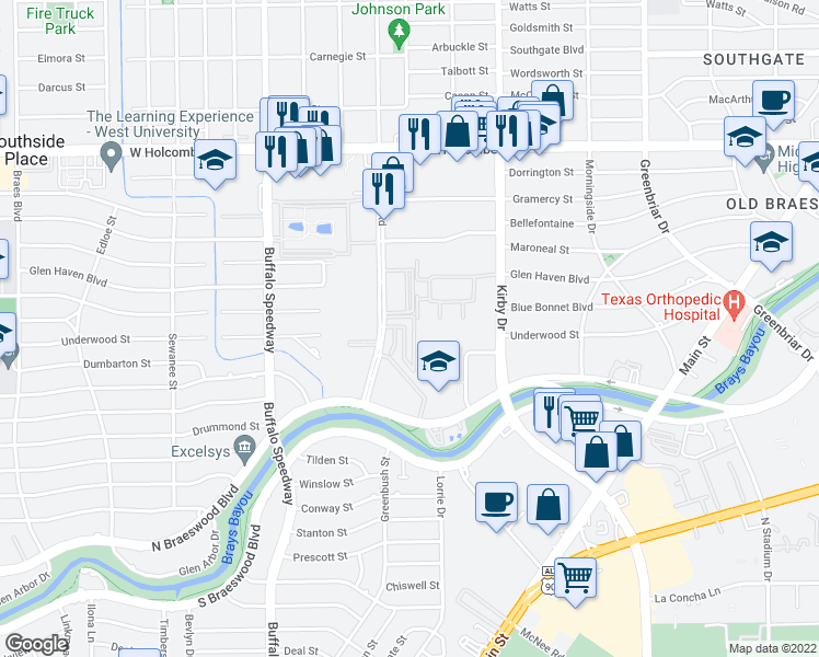 map of restaurants, bars, coffee shops, grocery stores, and more near 7435 Brompton Street in Houston