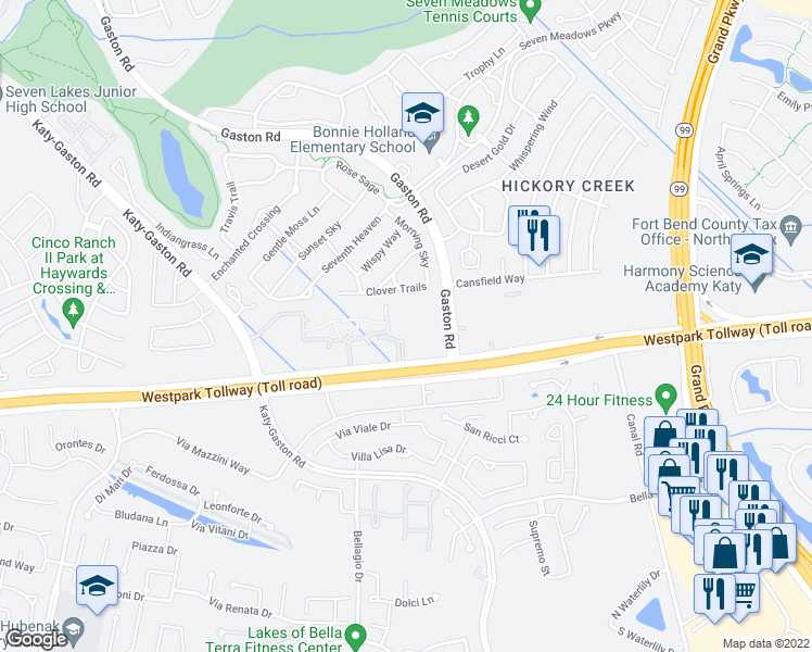 map of restaurants, bars, coffee shops, grocery stores, and more near 23702 Farm to Market 1093 Road in Richmond