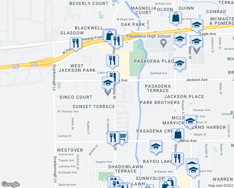 map of restaurants, bars, coffee shops, grocery stores, and more near 519 Richey Street in Pasadena