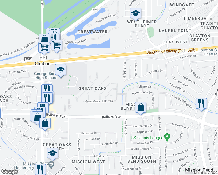 map of restaurants, bars, coffee shops, grocery stores, and more near 6731 Chester Oak Drive in Houston