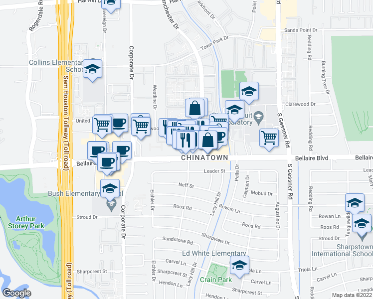 map of restaurants, bars, coffee shops, grocery stores, and more near 9280 Bellaire Blvd in Houston
