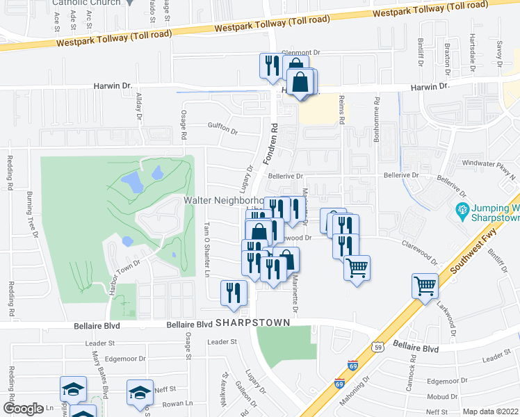 map of restaurants, bars, coffee shops, grocery stores, and more near 6128-6298 Fondren Road in Houston