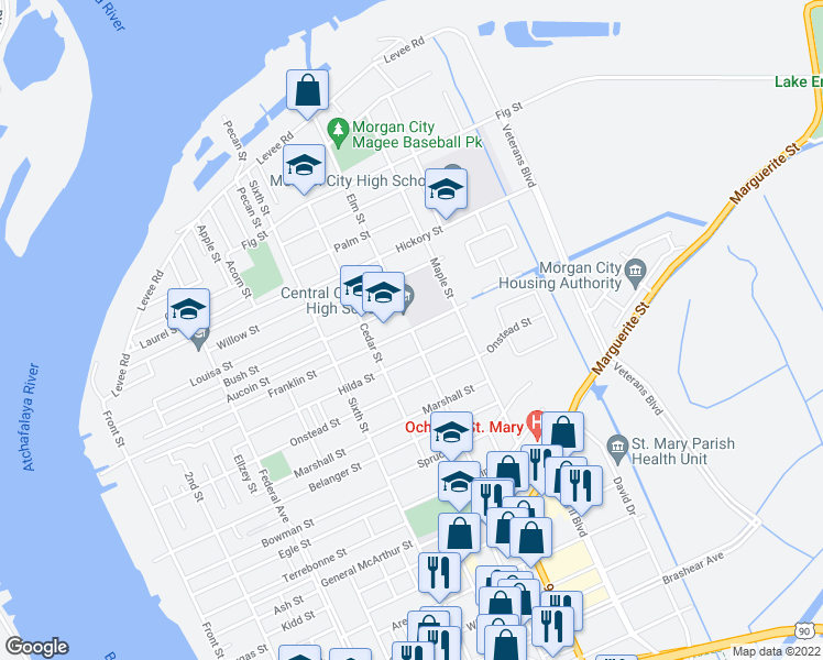 map of restaurants, bars, coffee shops, grocery stores, and more near Elm Street in Morgan City