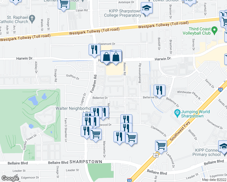 map of restaurants, bars, coffee shops, grocery stores, and more near 7500 Bellerive Drive in Houston
