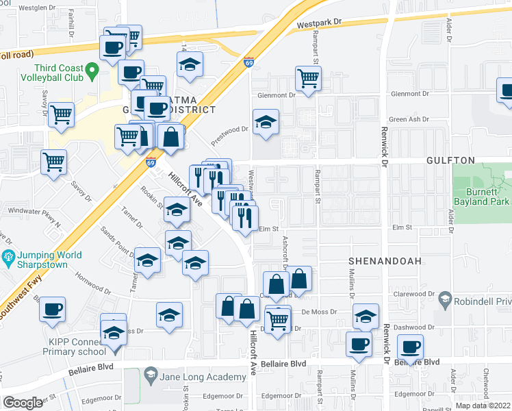map of restaurants, bars, coffee shops, grocery stores, and more near 6233 Gulfton Street in Houston
