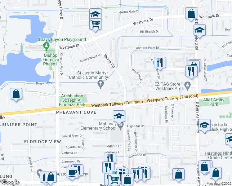 map of restaurants, bars, coffee shops, grocery stores, and more near 4040 Synott Road in Houston