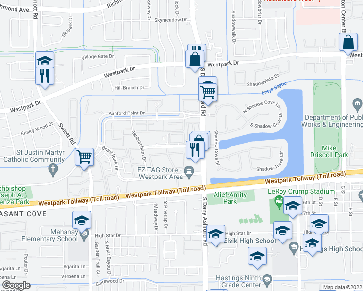 map of restaurants, bars, coffee shops, grocery stores, and more near 12680 Medfield Drive in Houston