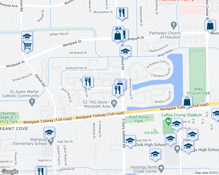 map of restaurants, bars, coffee shops, grocery stores, and more near 12660 Medfield Drive in Houston