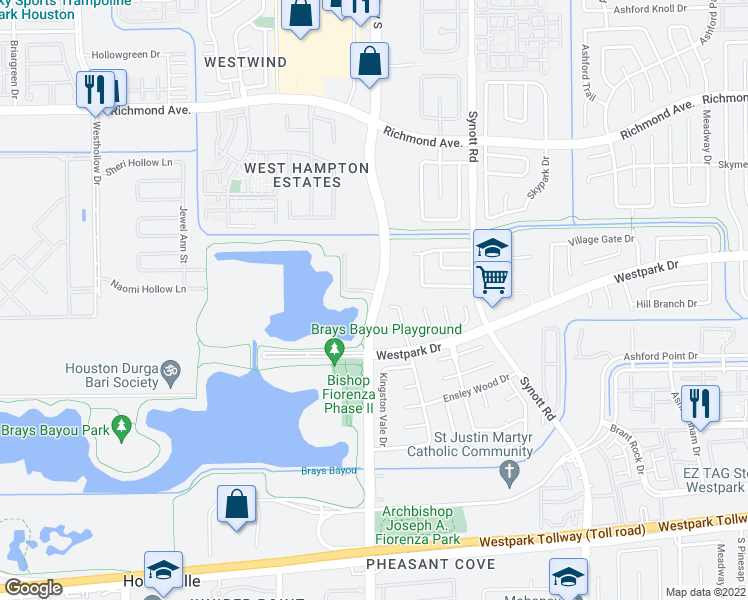 map of restaurants, bars, coffee shops, grocery stores, and more near Eldridge Parkway in Houston