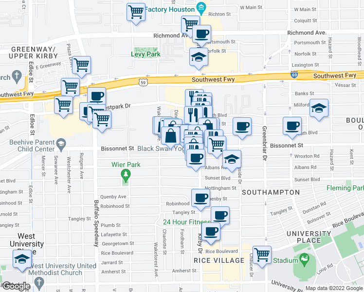 map of restaurants, bars, coffee shops, grocery stores, and more near 2630 Bissonnet Street in Houston