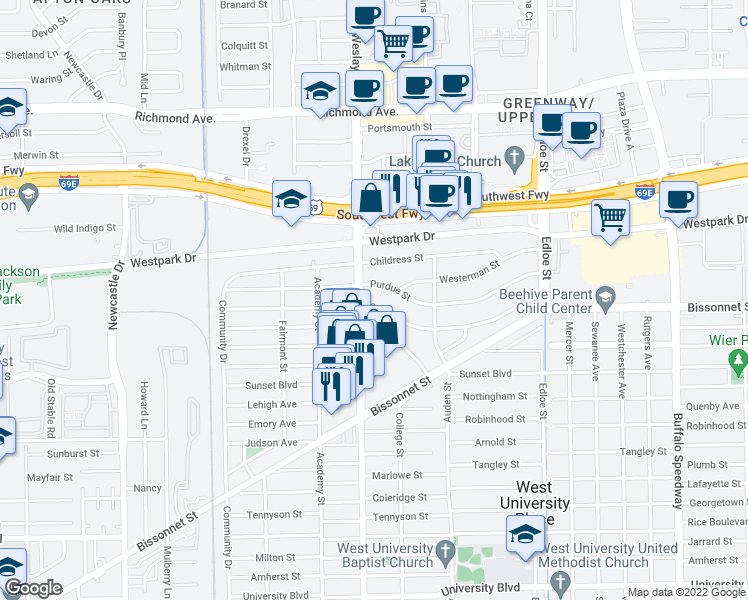 map of restaurants, bars, coffee shops, grocery stores, and more near 3922 Drake Street in Houston
