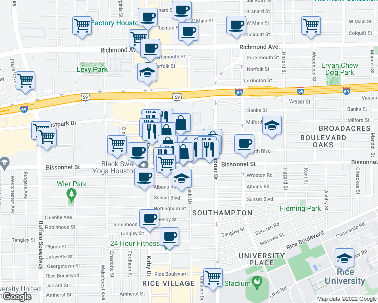 map of restaurants, bars, coffee shops, grocery stores, and more near 2347 Bartlett Street in Houston