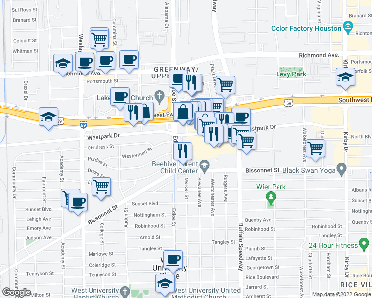 map of restaurants, bars, coffee shops, grocery stores, and more near 5135 Edloe Street in Houston