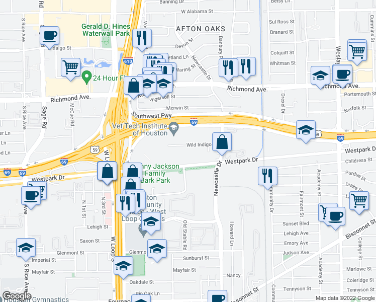 map of restaurants, bars, coffee shops, grocery stores, and more near 4655 Wild Indigo in Houston