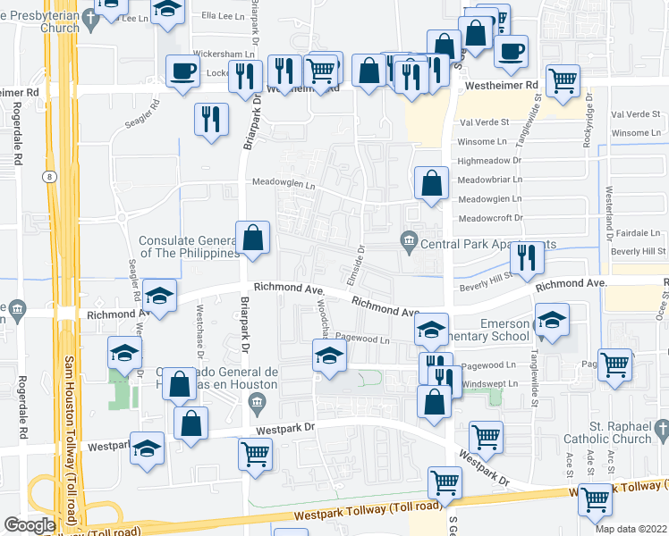 map of restaurants, bars, coffee shops, grocery stores, and more near 17 Elmside Drive in Houston
