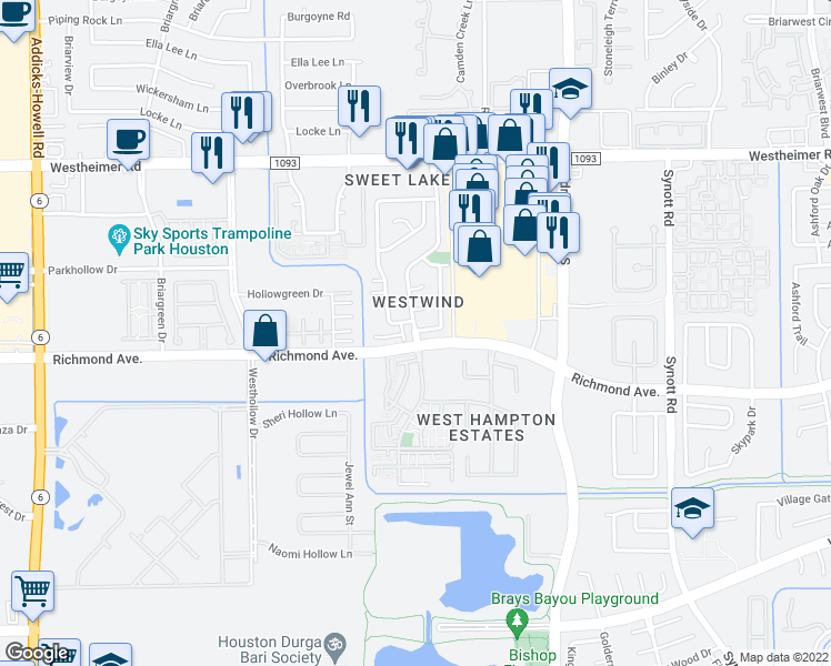 map of restaurants, bars, coffee shops, grocery stores, and more near 3003 Windchase Boulevard in Houston