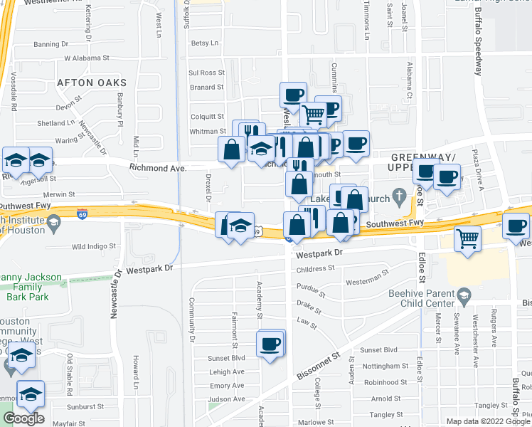 map of restaurants, bars, coffee shops, grocery stores, and more near 4100 Southwest Freeway in Houston