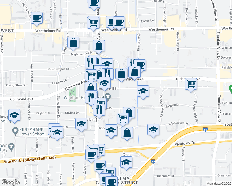 map of restaurants, bars, coffee shops, grocery stores, and more near 6363 Beverly Hill Street in Houston