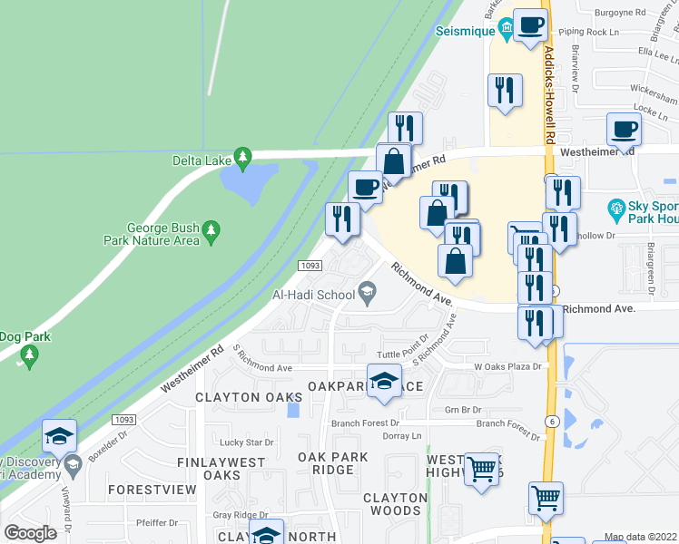 map of restaurants, bars, coffee shops, grocery stores, and more near 15155 Richmond Avenue in Houston