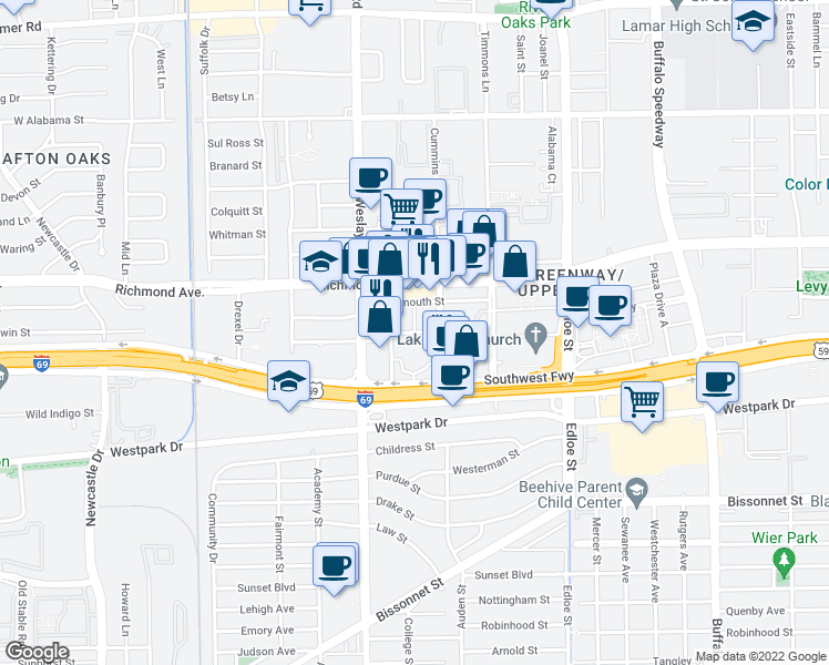 map of restaurants, bars, coffee shops, grocery stores, and more near Greenway Plaza in Houston