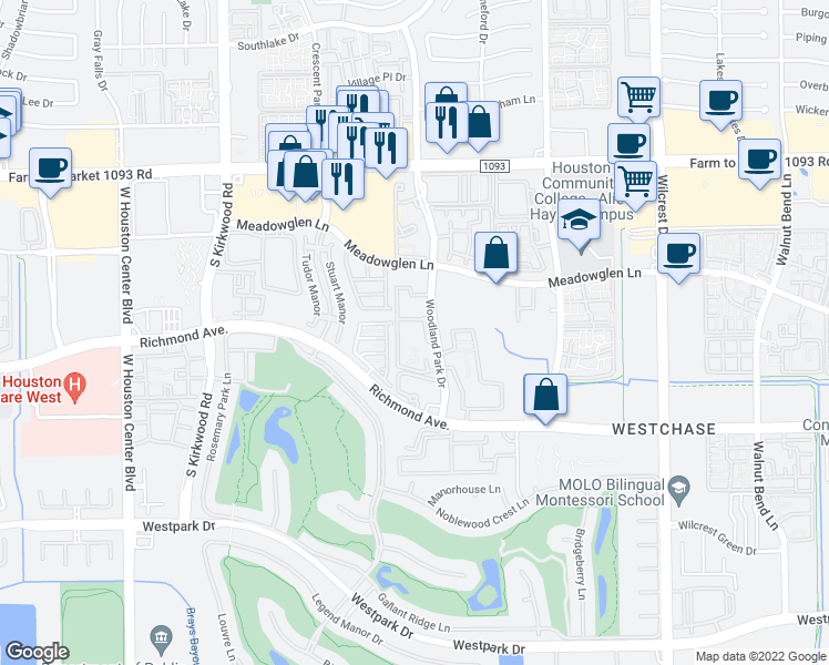 map of restaurants, bars, coffee shops, grocery stores, and more near 3000 Woodland Park Drive in Houston
