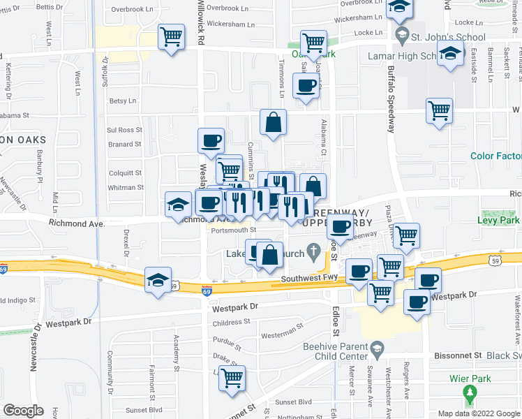 map of restaurants, bars, coffee shops, grocery stores, and more near 3788 Richmond Avenue in Houston