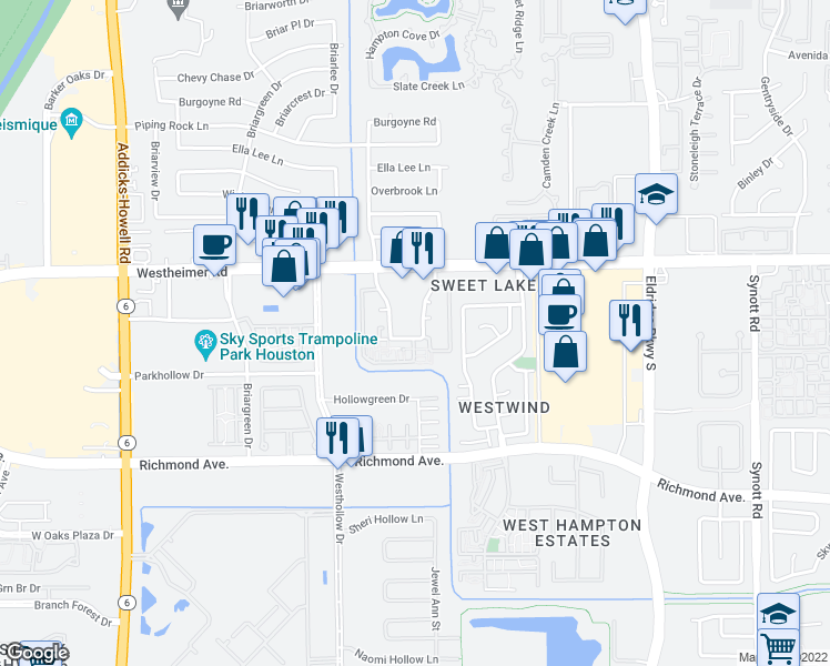 map of restaurants, bars, coffee shops, grocery stores, and more near 2503 Panagard Drive in Houston