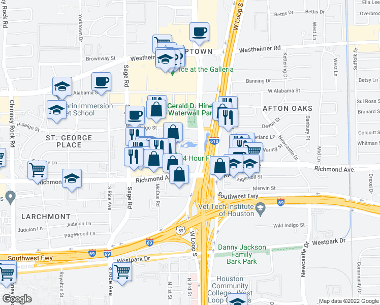 map of restaurants, bars, coffee shops, grocery stores, and more near 3100 Post Oak Boulevard in Houston