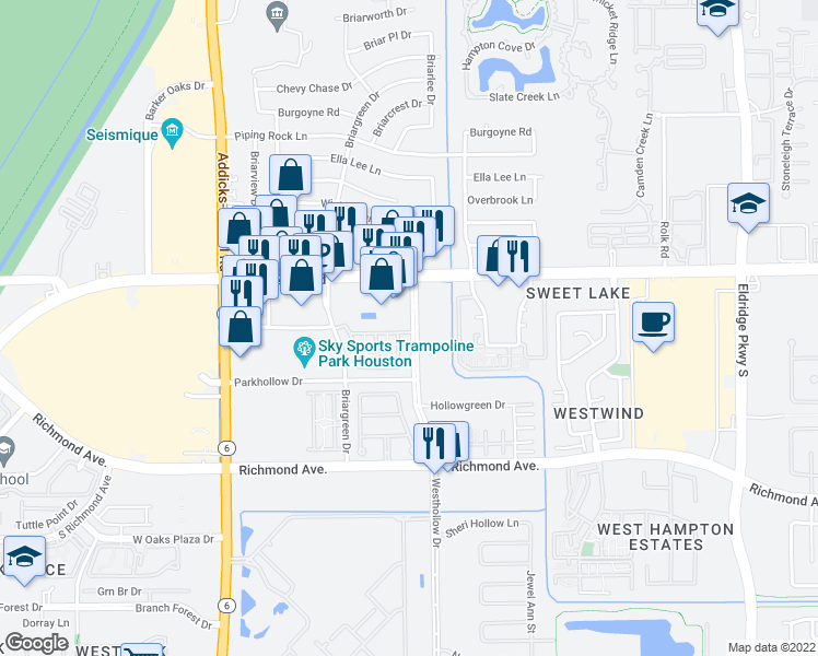 map of restaurants, bars, coffee shops, grocery stores, and more near 2562-2608 Westhollow Drive in Houston