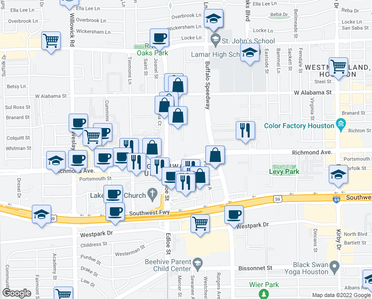 map of restaurants, bars, coffee shops, grocery stores, and more near 3616 Richmond Avenue in Houston