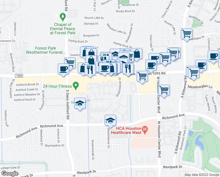 map of restaurants, bars, coffee shops, grocery stores, and more near 2840 Shadowbriar Drive in Houston