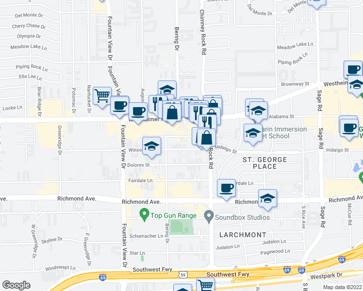 map of restaurants, bars, coffee shops, grocery stores, and more near 5640 Winsome Lane in Houston