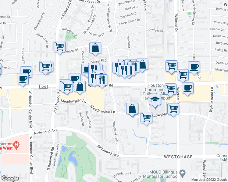map of restaurants, bars, coffee shops, grocery stores, and more near 2601 Woodland Park Drive in Houston