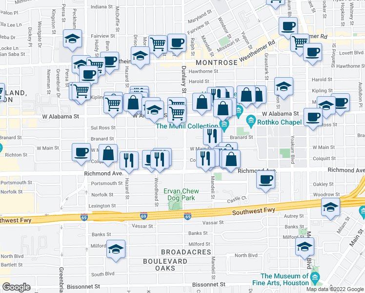 map of restaurants, bars, coffee shops, grocery stores, and more near 1702 West Main Street in Houston