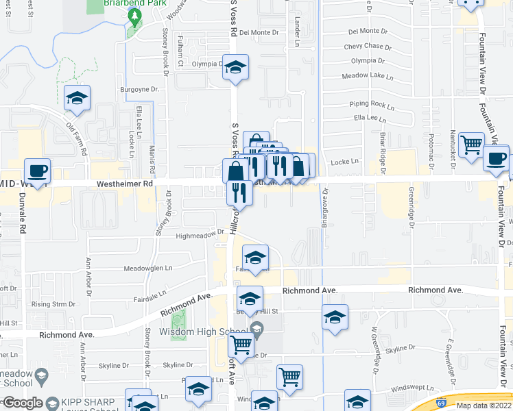 map of restaurants, bars, coffee shops, grocery stores, and more near 6505 Westheimer Road in Houston