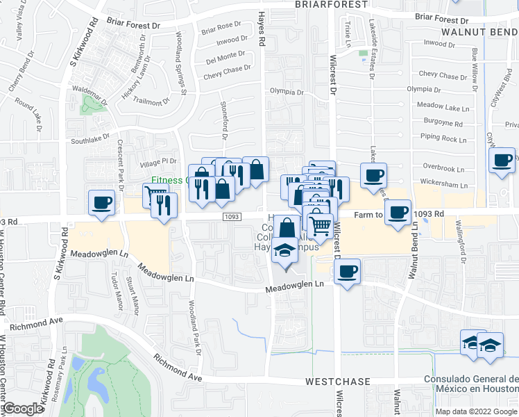 map of restaurants, bars, coffee shops, grocery stores, and more near 11302 Westheimer Road in Houston