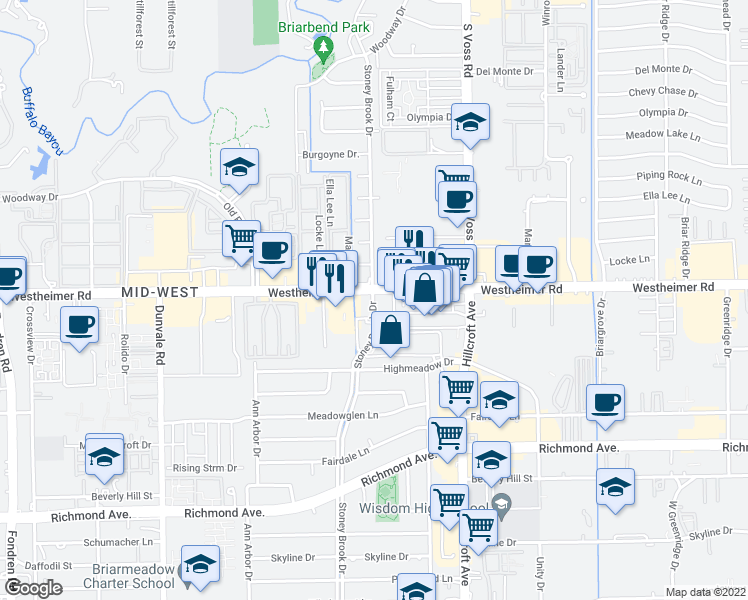 map of restaurants, bars, coffee shops, grocery stores, and more near 7731-7799 Westheimer Road in Houston