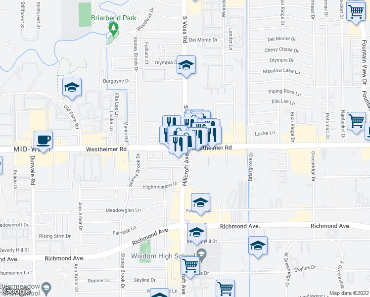 map of restaurants, bars, coffee shops, grocery stores, and more near 2520 Winrock Boulevard in Houston
