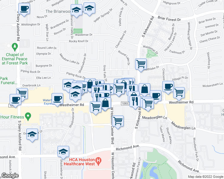 map of restaurants, bars, coffee shops, grocery stores, and more near 2475 Gray Falls Drive in Houston