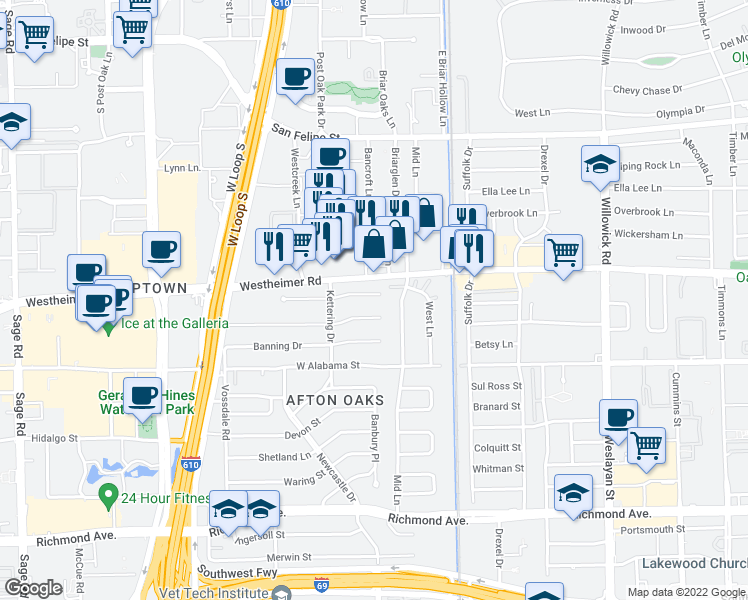 map of restaurants, bars, coffee shops, grocery stores, and more near in Houston