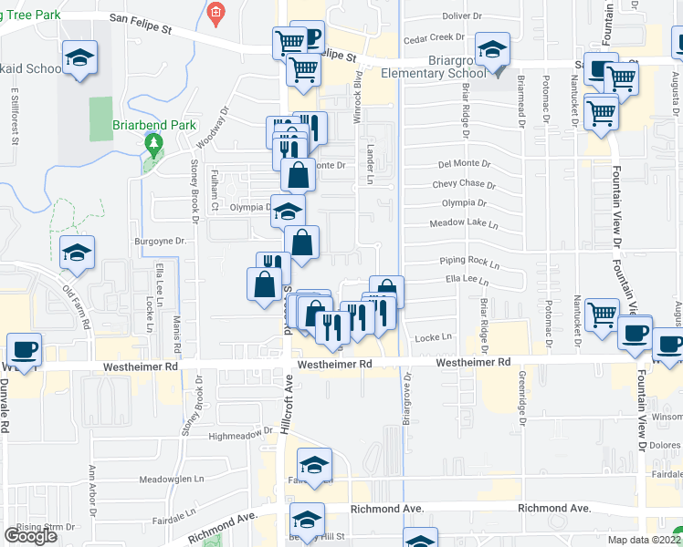 map of restaurants, bars, coffee shops, grocery stores, and more near 6434 Ella Lee Lane in Houston